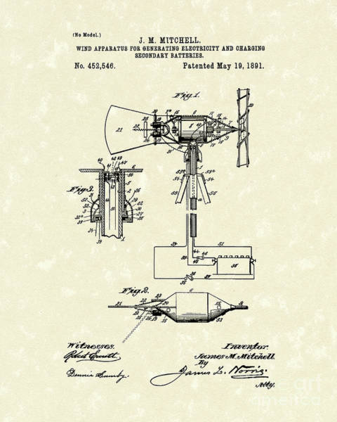 Drawing - Wind Mill 1891 Patent Art by Prior Art Design
