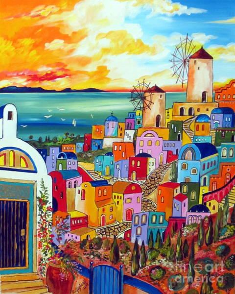 Tramonto Wall Art - Painting - Wind Mills In Greece by Roberto Gagliardi