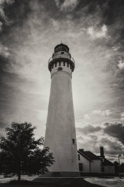 Photograph - Wind Point Lighthouse Silhouette In Black And White by Joan Carroll