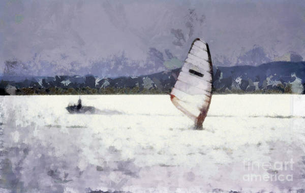 Wall Art - Painting - Wind Surfers On The Lake by Odon Czintos