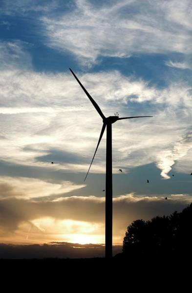 Sun Set Photograph - Wind Turbine At Dusk by Pascal Broze/reporters/science Photo Library