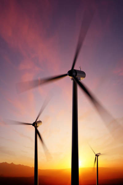 Cloudy Photograph - Wind Turbine Blades Spinning At Sunset by Johan Swanepoel