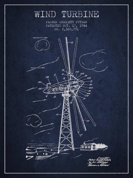 Windmill Digital Art - Wind Turbine Patent From 1944 - Navy Blue by Aged Pixel