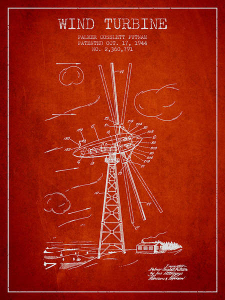 Wind Digital Art - Wind Turbine Patent From 1944 - Red by Aged Pixel