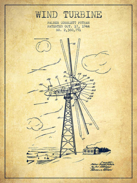 Wind Digital Art - Wind Turbine Patent From 1944 - Vintage by Aged Pixel