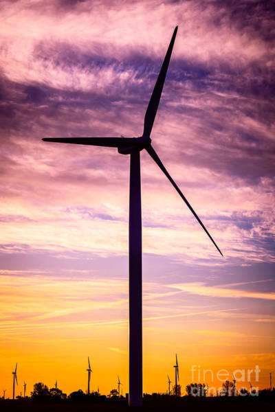 Electrical Field Wall Art - Photograph - Wind Turbine Picture On Wind Farm In Indiana by Paul Velgos