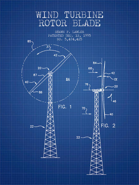 Wind Digital Art - Wind Turbine Rotor Blade Patent From 1995 - Blueprint by Aged Pixel