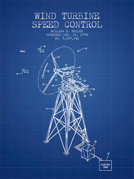 Wind Digital Art - Wind Turbine Speed Control Patent From 1994 - Blueprint by Aged Pixel