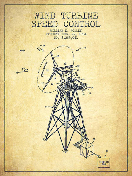 Wind Digital Art - Wind Turbine Speed Control Patent From 1994 - Vintage by Aged Pixel