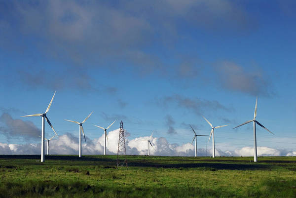 Generators Photograph - Wind Turbines And Pylon by Simon Fraser/science Photo Library