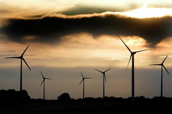 Sun Set Photograph - Wind Turbines At Dusk by Pascal Broze/reporters/science Photo Library