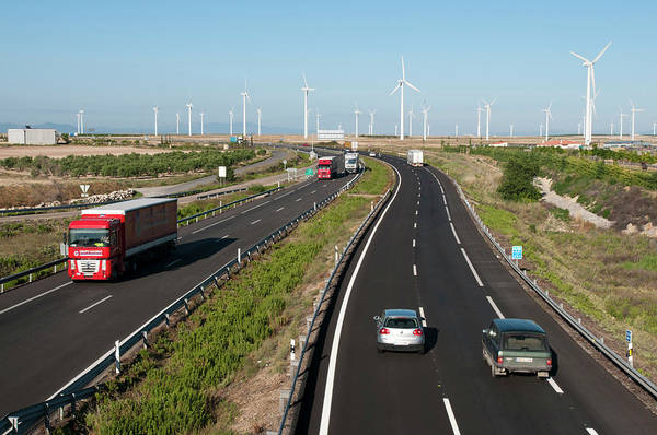 Wall Art - Photograph - Wind Turbines By A Motorway by Marco Ansaloni / Science Photo Library