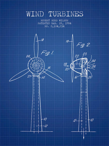 Wind Digital Art - Wind Turbines Patent From 1984 - Blueprint by Aged Pixel