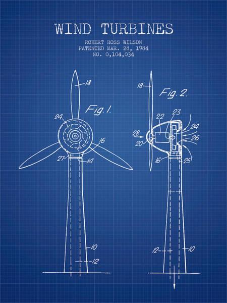 Windmill Digital Art - Wind Turbines Patent From 1984 - Blueprint by Aged Pixel