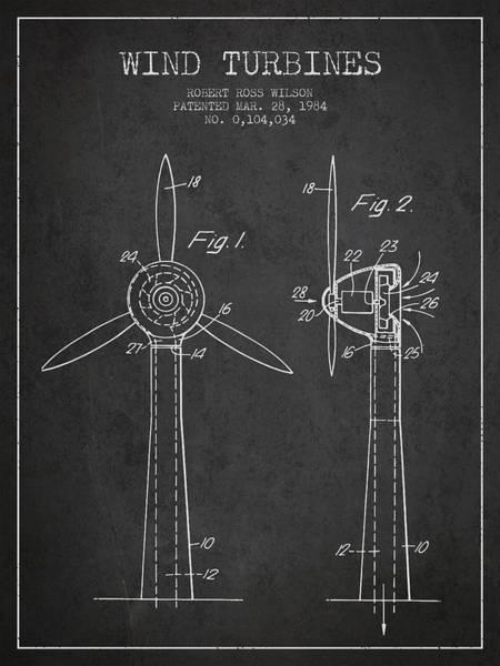 Windmill Digital Art - Wind Turbines Patent From 1984 - Dark by Aged Pixel