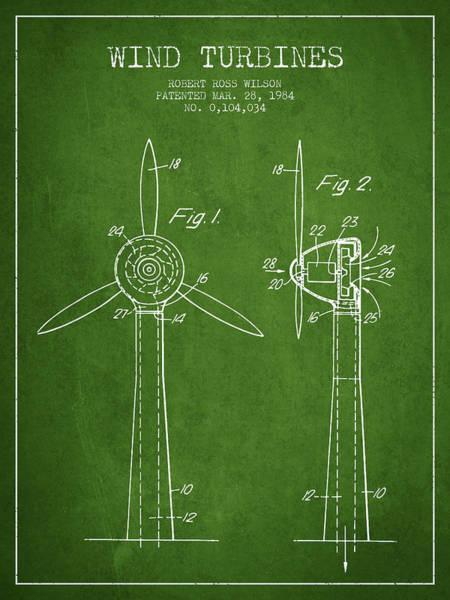 Windmill Digital Art - Wind Turbines Patent From 1984 - Green by Aged Pixel