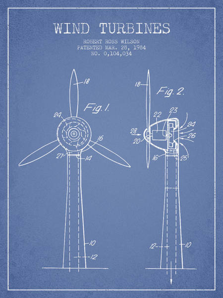 Wind Digital Art - Wind Turbines Patent From 1984 - Light Blue by Aged Pixel