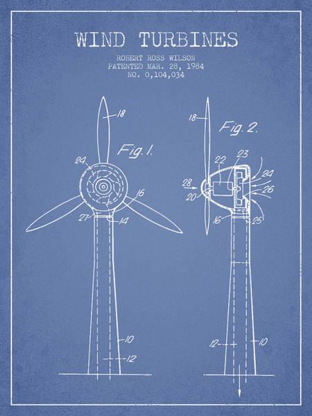 Windmill Digital Art - Wind Turbines Patent From 1984 - Light Blue by Aged Pixel