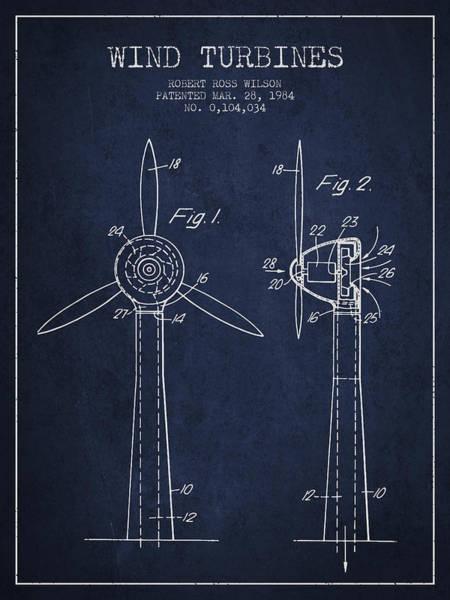Windmill Digital Art - Wind Turbines Patent From 1984 - Navy Blue by Aged Pixel
