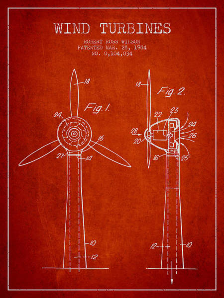 Windmill Digital Art - Wind Turbines Patent From 1984 - Red by Aged Pixel