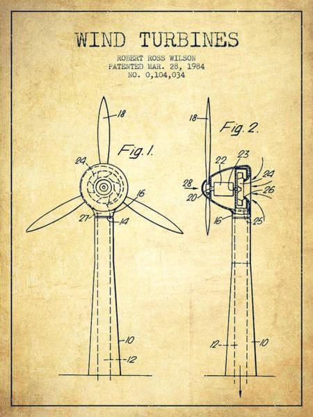Windmill Digital Art - Wind Turbines Patent From 1984 - Vintage by Aged Pixel