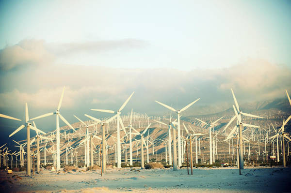 Riverside California Photograph - Wind Turbines With Mountains by Panoramic Images