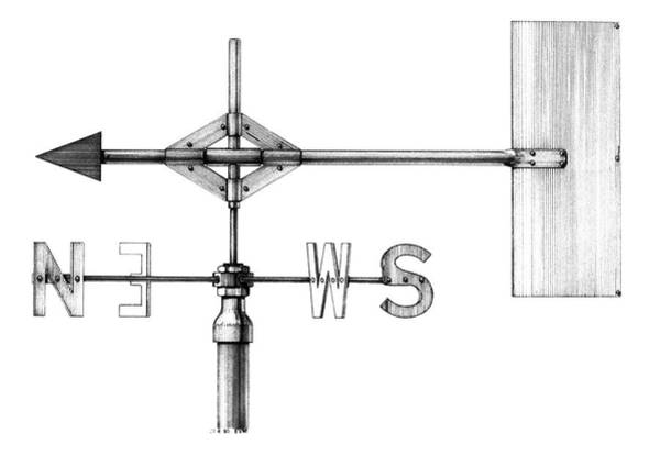 Weather Vane Photograph - Wind Vane by British Crown Copyright, The Met Office / Science Photo Library