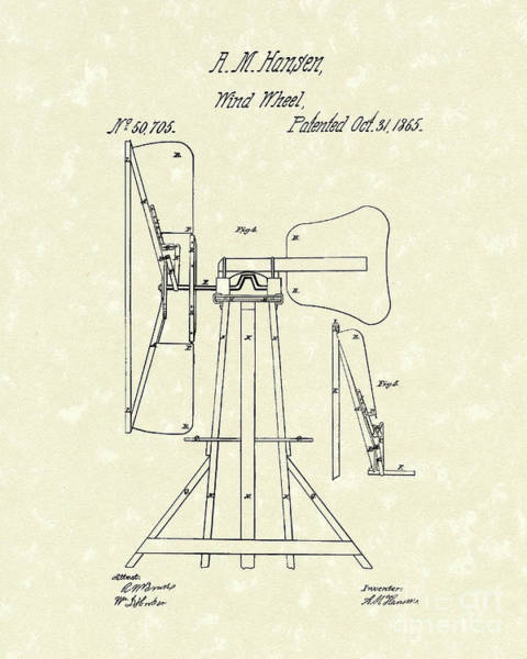 Wind Drawing - Wind Wheel 1865 Patent Art by Prior Art Design