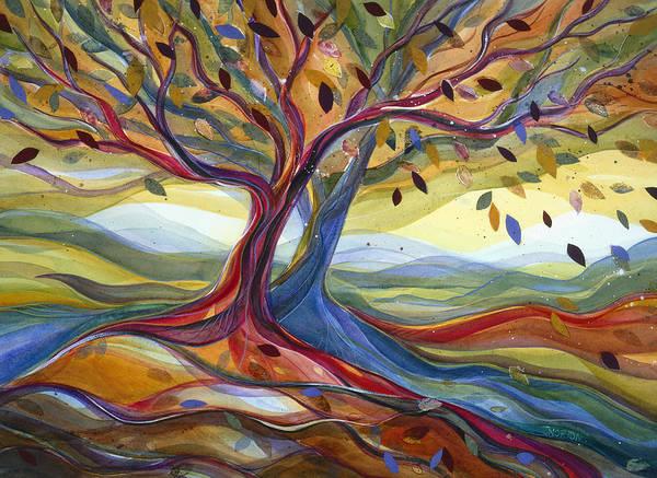 Wall Art - Painting - Windblown Colorful Fall Tree by Jen Norton