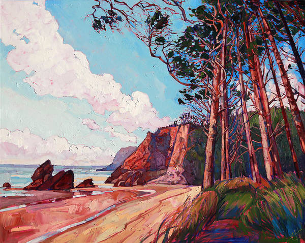 Rocky Coast Painting - Winding Pines by Erin Hanson