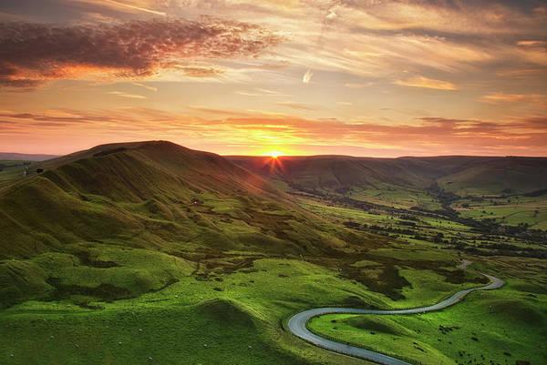 Peak District National Park Photograph - Winding Road Beneath Mam Tor, Peak by Verity E. Milligan