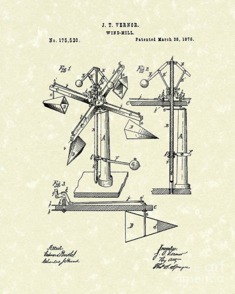 Energy Drawing - Windmill 1876 Patent Art by Prior Art Design