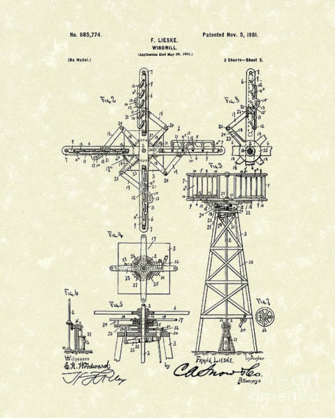 Energy Drawing - Windmill 1901 Patent Art by Prior Art Design
