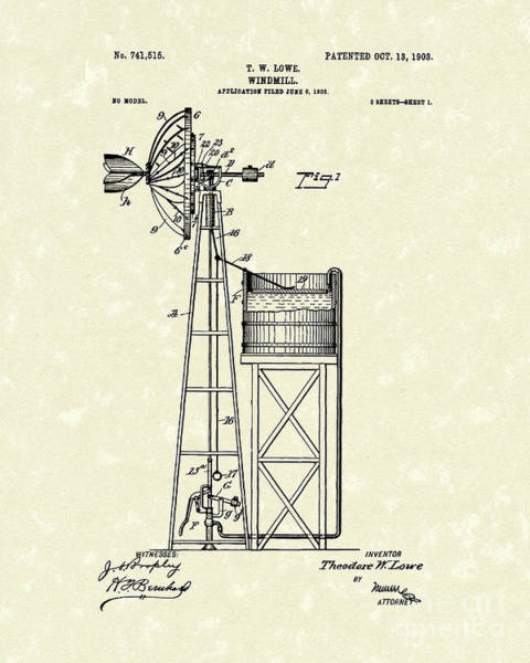 Wind Drawing - Windmill 1903 Patent Art by Prior Art Design