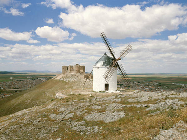 Wind Mill Photograph - Windmill And Castle Ruin by Tony Craddock/science Photo Library