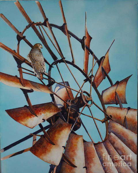 Painting - Windmill And Hawk by Greg and Linda Halom