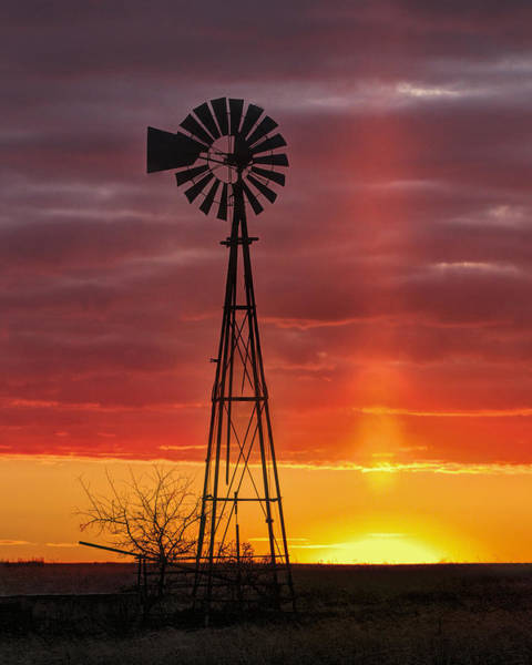 Windmill And Light Pillar Art Print