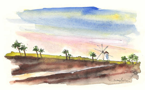 Murcia Painting - Windmill And Palmtrees In Santa Ana by Miki De Goodaboom