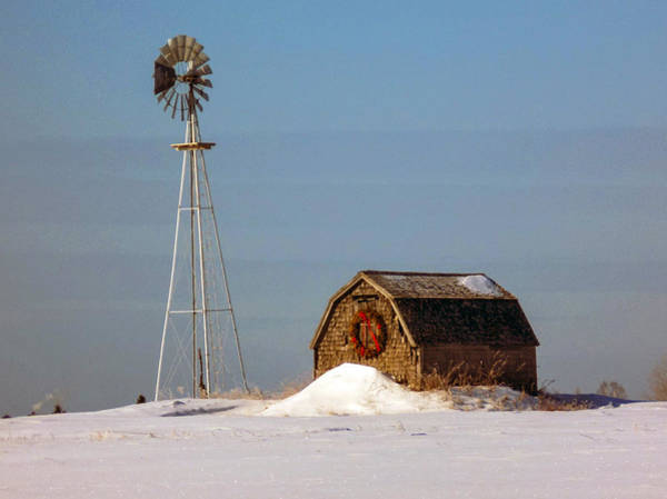 Aroostook Photograph - Windmill And Shed by William Tasker