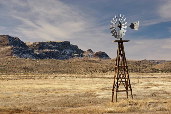 Chihuahua Photograph - Windmill At Chihuahuan Desert Grassland by Witold Skrypczak