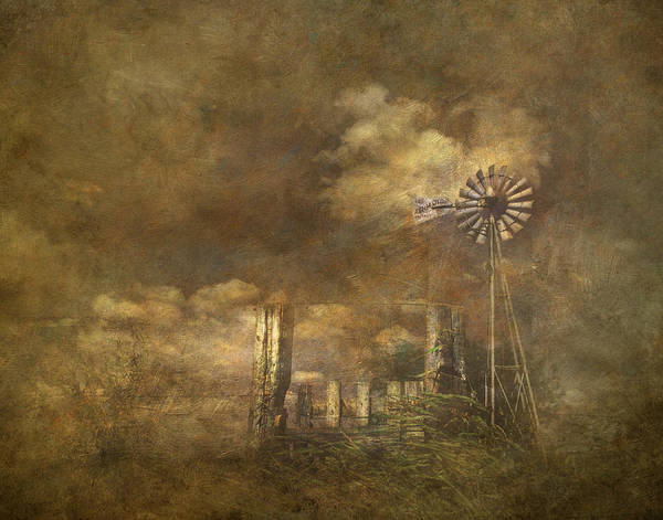 Farm Water Photograph - Windmill Behind Wood Fence by David and Carol Kelly