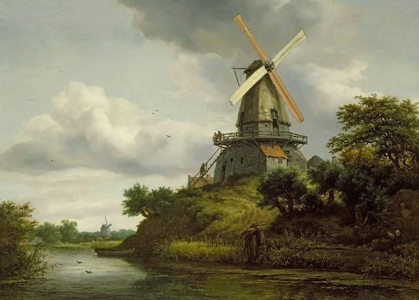 Wall Art - Painting - Windmill By A River by Jacob Isaaksz or Isaacksz van Ruisdael