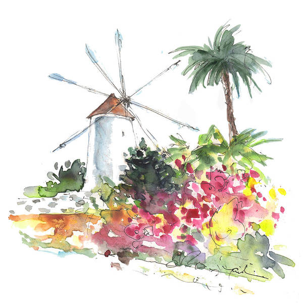 Cartagena Painting - Windmill In Santa Ana by Miki De Goodaboom