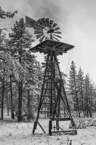 Photograph - Windmill In The Snow Black And White by Scott Campbell