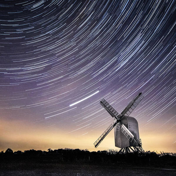 Wind Mill Photograph - Windmill On A Starry Night. by Ian Hufton