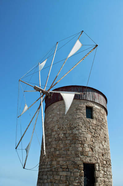 Dodecanese Photograph - Windmill On Rhodes Harbour by Barbara Eddowes