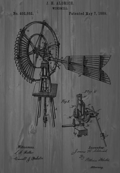 Blades Mixed Media - Windmill Patent Barn Wall by Dan Sproul