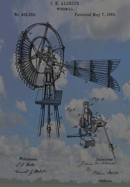 Wind Vane Digital Art - Windmill Patent Blue Skies by Dan Sproul