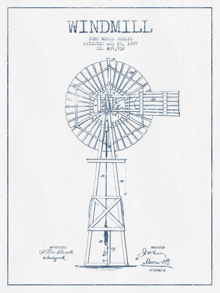 Windmill Digital Art - Windmill Patent Drawing From 1889 - Blue Ink by Aged Pixel