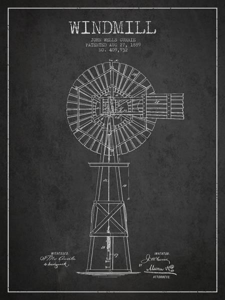 Windmill Digital Art - Windmill Patent Drawing From 1889 - Dark by Aged Pixel